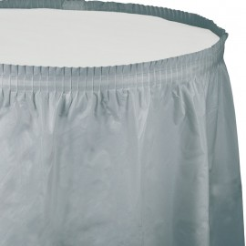 Shimmering Silver Table Skirt Plastic