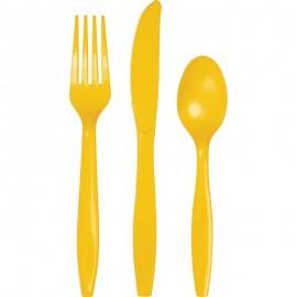 School Bus Yellow Cutlery Set Plastic