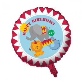 Circus Time 45cm Happy Birthday Foil Balloon