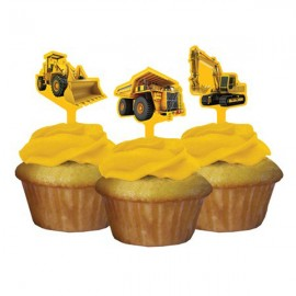 Construction Birthday Zone Cupcake Toppers - Picks