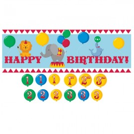 Circus Time Giant Party Banner with Number Stickers