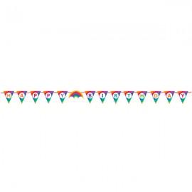 Rainbow Ribbon Pennant Banner Happy Birthday