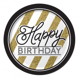 Black & Gold Dinner Plates Happy Birthday Paper