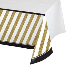 Black & Gold Tablecover Plastic