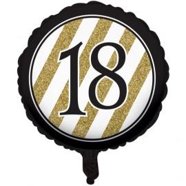 45cm Black & Gold 18 Foil Balloon
