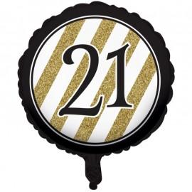 45cm Black & Gold 21 Foil Balloon