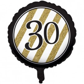 45cm Black & Gold 30 Foil Balloon