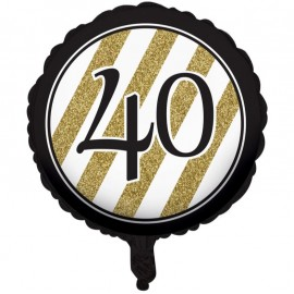 45cm Black & Gold 40 Foil Balloon