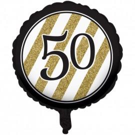 45cm Black & Gold 50 Foil Balloon