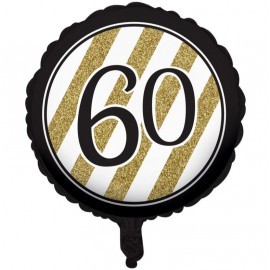 45cm Black & Gold 60 Foil Balloon