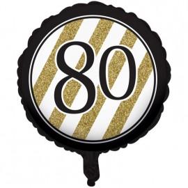 45cm Black & Gold 80 Foil Balloon