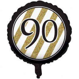 45cm Black & Gold 90 Foil Balloon