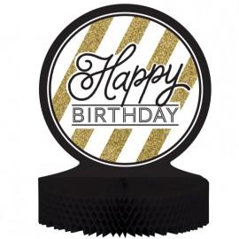 Black & Gold Centrepiece Happy Birthday Honeycomb