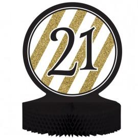 Black & Gold 21 Centrepiece Honeycomb
