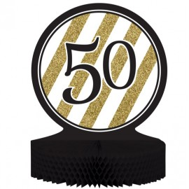 Black & Gold 50 Centrepiece Honeycomb