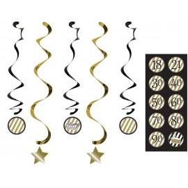 Black & Gold Dizzy Danglers Happy Birthday Swirls