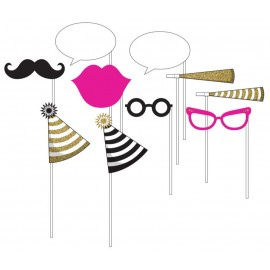 Black & Gold Photo Booth Props Assorted Sizes