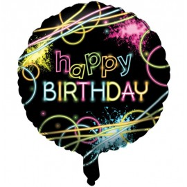 45cm Glow Party Happy Birthday  Foil Balloon