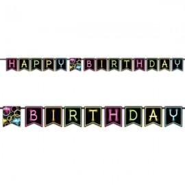 Glow Party Happy Birthday Ribbon Banner 2.7m