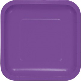 Amethyst Purple Square Luncheon Plates Paper18cm