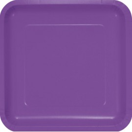 Amethyst Purple Square Dinner Plates Paper 23cm