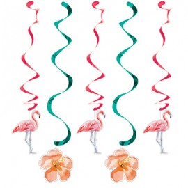 Flamingo's Dizzy Danglers Hanging Swirls & Flowers