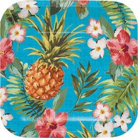 Aloha Luncheon Plates Square Paper Luau