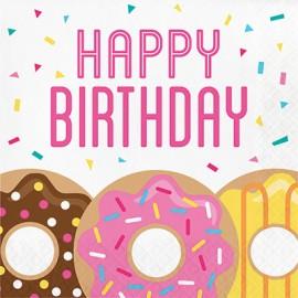 Donut Time Luncheon Napkins Happy Birthday