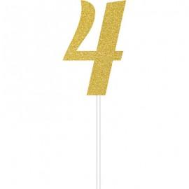 Cake Topper Number 4 Gold Glittered