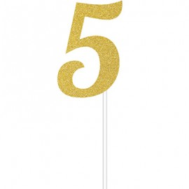Cake Topper Number 5 Gold Glittered