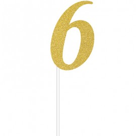 Cake Topper Number 6 Gold Glittered