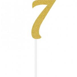 Cake Topper Number 7 Gold Glittered