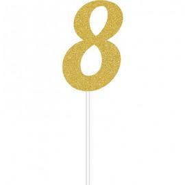Cake Topper Number 8 Gold Glittered