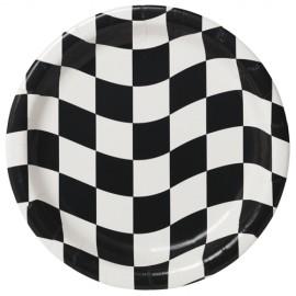 Black & White Checkered Luncheon Plates