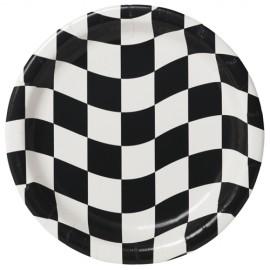 Black & White Checkered Dinner Plates