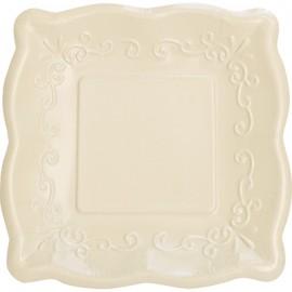 Elise Pottery Dinner Plates Linen Square 25cm