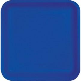Cobalt Blue Square Luncheon Plates Paper 18cm