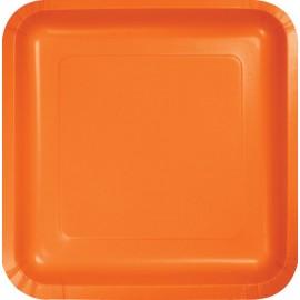 Sunkissed Orange Square Luncheon Plates Paper 18cm
