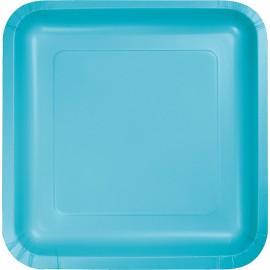 Bermuda Blue Square Luncheon Plates Paper 18cm