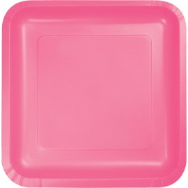 Candy Pink Square Dinner Plates Paper 23cm