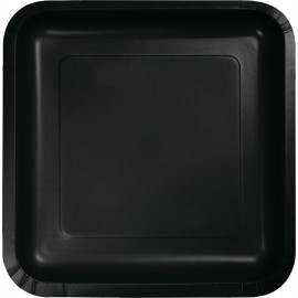 Black Velvet Square Dinner Plates Paper 23cm