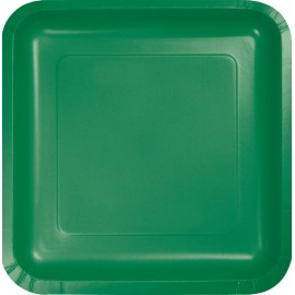 Emerald Green Square Dinner Plates Paper 23cm