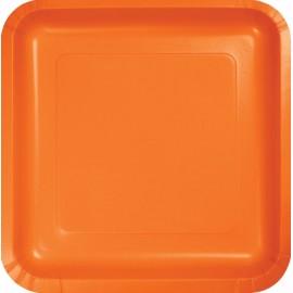 Sunkissed Orange Square Dinner Plates Paper 23cm