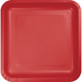 Classic Red Square Dinner Plates Paper 23cm