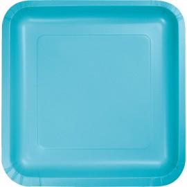 Bermuda Blue Square Dinner Plates Paper 23cm