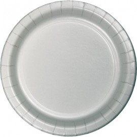 Shimmering Silver Banquet Plates Paper 26cm