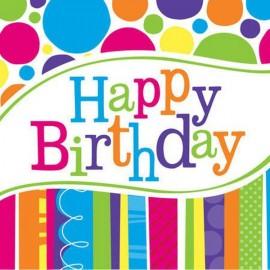 Bright and Bold Happy Birthday Beverage Napkins,
