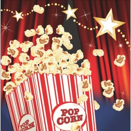 Hollywood Lights Beverage Napkins Popcorn