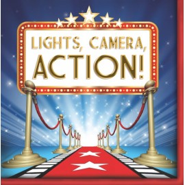 Hollywood Lights Lunch Napkins Lights, Camera, Action