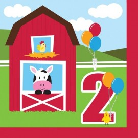 Farmhouse Fun Luncheon Napkins - 2nd Birthday